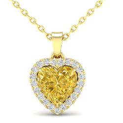 1 CTW Citrine & Micro Pave VS/SI Diamond Heart Necklace Halo 14K Yellow Gold - REF-28M4H - 21337