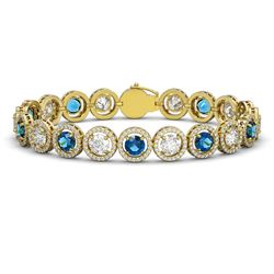 15.35 CTW Blue & White Diamond Designer Bracelet 18K Yellow Gold - REF-3455F5N - 42682