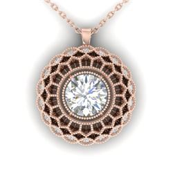 1.25 CTW Certified VS/SI Diamond Art Deco Necklace 14K Rose Gold - REF-360X4T - 30559