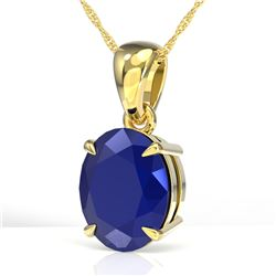 3.50 CTW Sapphire Designer Inspired Solitaire Necklace 18K Yellow Gold - REF-33K3W - 21881