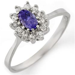 0.60 CTW Tanzanite & Diamond Ring 18K White Gold - REF-35F8N - 10769