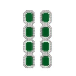 12.33 CTW Emerald & Diamond Halo Earrings 10K White Gold - REF-178M2H - 41426
