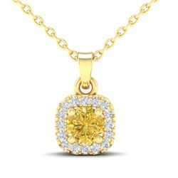 0.38 CTW Citrine & Micro VS/SI Diamond Heart Necklace Halo 18K Yellow Gold - REF-30M2H - 21306