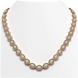 32.42 CTW Opal & Diamond Halo Necklace 10K Rose Gold - REF-670Y8K - 40569
