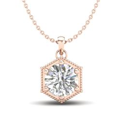 0.82 CTW VS/SI Diamond Solitaire Art Deco Stud Necklace 18K Rose Gold - REF-218A2X - 37221