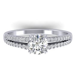 1.11 CTW Certified VS/SI Diamond Solitaire Art Deco Ring 14K White Gold - REF-182T9M - 30303