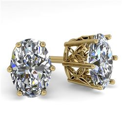1.0 CTW VS/SI Oval Diamond Stud Solitaire Earrings 18K Yellow Gold - REF-178A2X - 35827