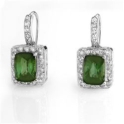 3.50 CTW Green Tourmaline & Diamond Earrings 14K White Gold - REF-76A4X - 10932