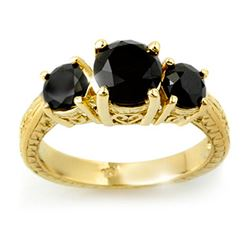 2.50 CTW VS Certified Black Diamond 3 Stone Ring 14K Yellow Gold - REF-67M6H - 13889