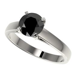1.50 CTW Fancy Black VS Diamond Solitaire Engagement Ring 10K White Gold - REF-36M3H - 33022