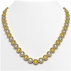 35.54 CTW Canary Yellow & White Diamond Designer Necklace 18K Yellow Gold - REF-5036H2A - 42688