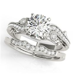 1.32 CTW Certified VS/SI Diamond Solitaire 2Pc Wedding Set Antique 14K White Gold - REF-427W3F - 315