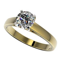 1.25 CTW Certified H-SI/I Quality Diamond Solitaire Engagement Ring 10K Yellow Gold - REF-191M3H - 3