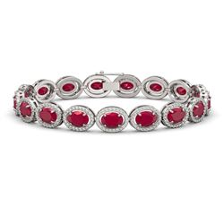 22.89 CTW Ruby & Diamond Halo Bracelet 10K White Gold - REF-291X5T - 40604