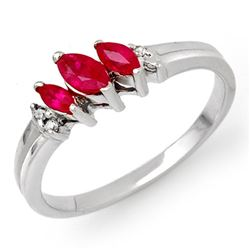 0.29 CTW Ruby & Diamond Ring 14K White Gold - REF-21A8X - 13522