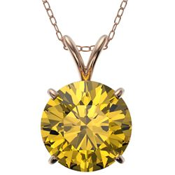 2.50 CTW Certified Intense Yellow SI Diamond Solitaire Necklace 10K Rose Gold - REF-687M2H - 33249