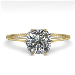 1.0 CTW VS/SI Cushion Diamond Solitaire Engagement Ring Size 7 18K Yellow Gold - REF-287A4X - 35899