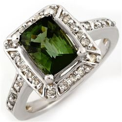 2.40 CTW Green Tourmaline & Diamond Ring 14K White Gold - REF-64F8N - 10933