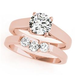 0.6725 CTW Certified VS/SI Diamond 2Pc Set Solitaire Wedding 14K Rose Gold - REF-105W3F - 32106
