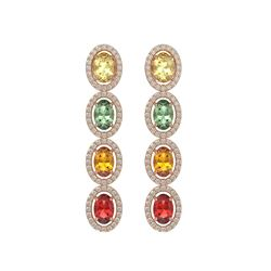 6.09 CTW Multi Color Sapphire & Diamond Halo Earrings 10K Rose Gold - REF-135Y3K - 40551
