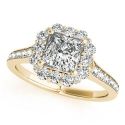 1.5 CTW Certified VS/SI Princess Diamond Solitaire Halo Ring 18K Yellow Gold - REF-441F5N - 27158