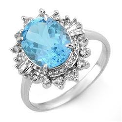 3.95 CTW Blue Topaz & Diamond Ring 18K White Gold - REF-60Y9K - 10969
