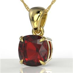 1.50 Cushion Cut CTW Garnet Designer Solitaire Necklace 18K Yellow Gold - REF-24X2T - 21944