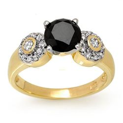 1.90 CTW VS Certified Black & White Diamond Ring 14K Yellow Gold - REF-81A3X - 11861