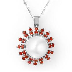 1.50 CTW Red Sapphire & Pearl Necklace 18K White Gold - REF-65A5X - 11743