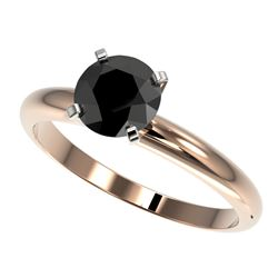 1.25 CTW Fancy Black VS Diamond Solitaire Engagement Ring 10K Rose Gold - REF-39X5T - 32907