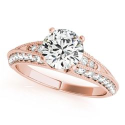 1.33 CTW Certified VS/SI Diamond Solitaire Antique Ring 18K Rose Gold - REF-209T3M - 27259