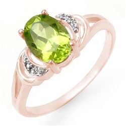 1.55 CTW Peridot & Diamond Ring 14K Rose Gold - REF-20A2X - 13463