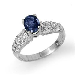 1.50 CTW Blue Sapphire & Diamond Ring 18K White Gold - REF-74K4W - 13214