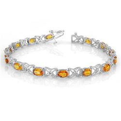 10.15 CTW Yellow Sapphire & Diamond Bracelet 18K White Gold - REF-163Y6K - 10919