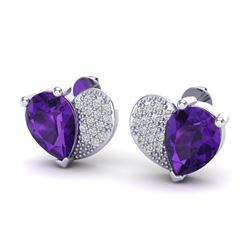 2.50 CTW Amethyst & Micro Pave VS/SI Diamond Earrings 10K White Gold - REF-30A2X - 20064