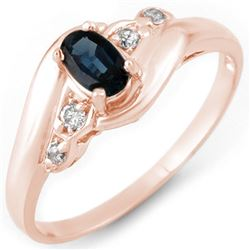 0.42 CTW Blue Sapphire & Diamond Ring 14K Rose Gold - REF-24A2X - 11144