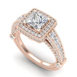 2.53 CTW Princess VS/SI Diamond Solitaire Art Deco Ring 18K Rose Gold - REF-509H3A - 37125