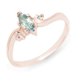 0.29 CTW Blue Topaz & Diamond Ring 14K Rose Gold - REF-16W4F - 12559
