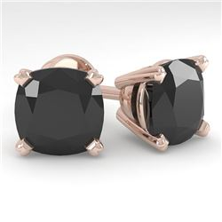12 CTW Cushion Black Diamond Stud Designer Earrings 18K Rose Gold - REF-270F2N - 32330