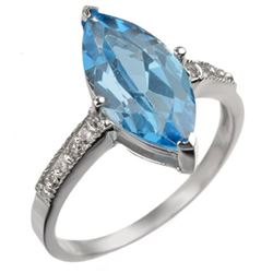 3.60 CTW Blue Topaz & Diamond Ring 10K White Gold - REF-20H9A - 10953
