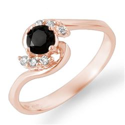 0.50 CTW VS Certified Black & White Diamond Ring 14K Rose Gold - REF-28H5A - 14036