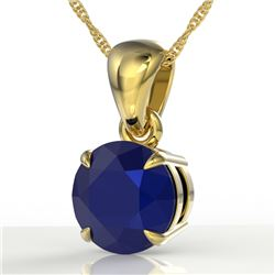 2 CTW Sapphire Designer Inspired Solitaire Necklace 18K Yellow Gold - REF-24T5M - 22041