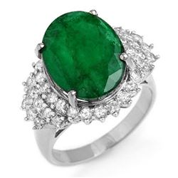 7.56 CTW Emerald & Diamond Ring 18K White Gold - REF-162K9W - 12904
