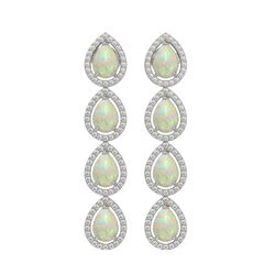 6.2 CTW Opal & Diamond Halo Earrings 10K White Gold - REF-148M9H - 41153