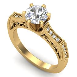 1.25 CTW VS/SI Diamond Art Deco Ring 18K Yellow Gold - REF-400W2F - 37075