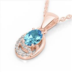 1.25 CTW Sky Blue Topaz & Micro Pave VS/SI Diamond Necklace 10K Rose Gold - REF-19H6A - 22343