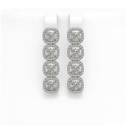 6.01 CTW Cushion Diamond Designer Earrings 18K White Gold - REF-1127T6M - 42719