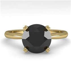 2.0 CTW Black Diamond Engagement Designer Ring 18K Yellow Gold - REF-74H2A - 32449