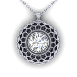 1.25 CTW Certified VS/SI Diamond Art Deco Necklace 14K White Gold - REF-360K4W - 30558