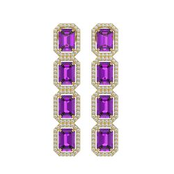 10.73 CTW Amethyst & Diamond Halo Earrings 10K Yellow Gold - REF-147H3A - 41467